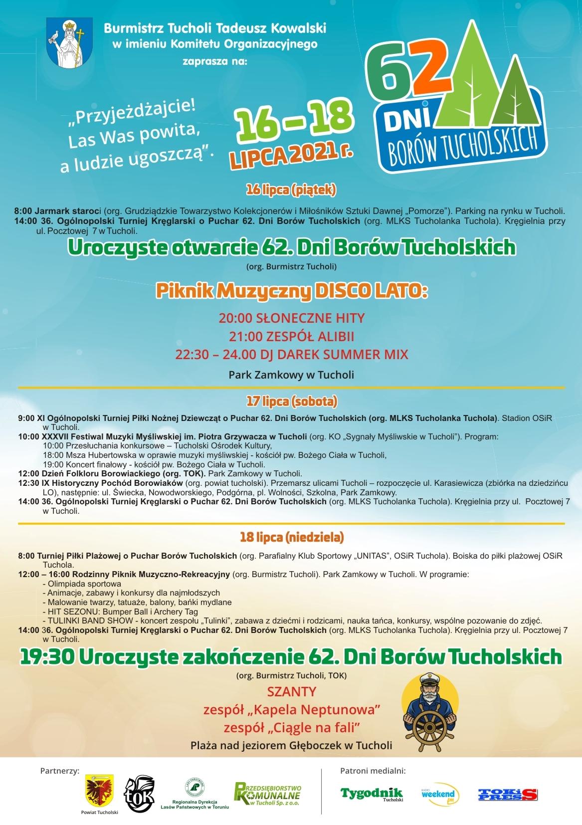 Plakat z programem 62. Dni Borów Tucholskich. Jego treść jest zawarta w artykule