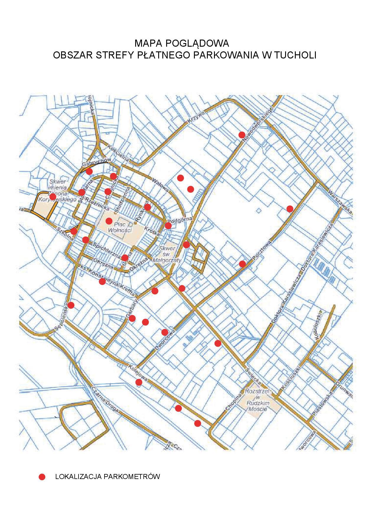 Mapa poglądowa - obszar Strefy Płatnego Parkowania w Tucholi